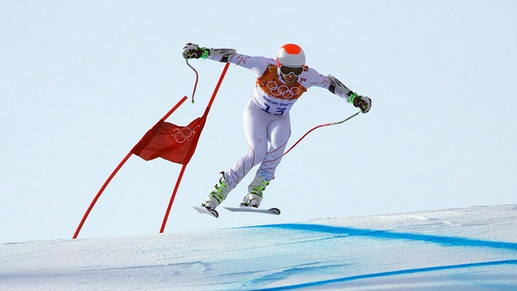 Bode Miller speeds down the mountain