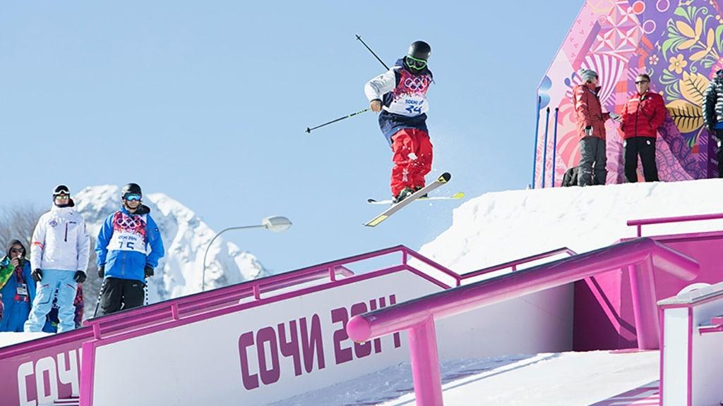 Joss Christensen goes airborne off a rail