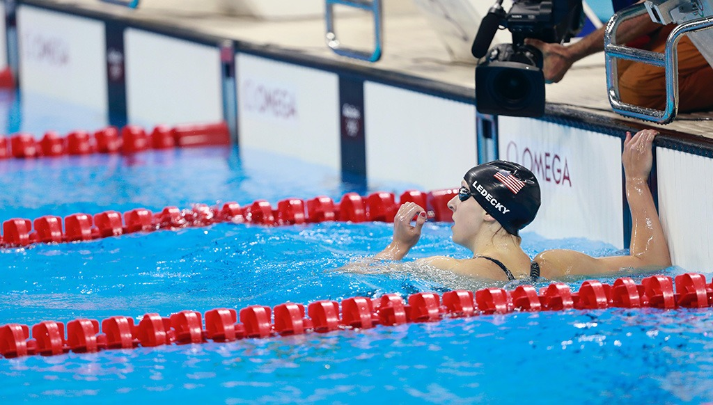 Katie Ledecky is in the clear as she touches the wall well ahead of the field