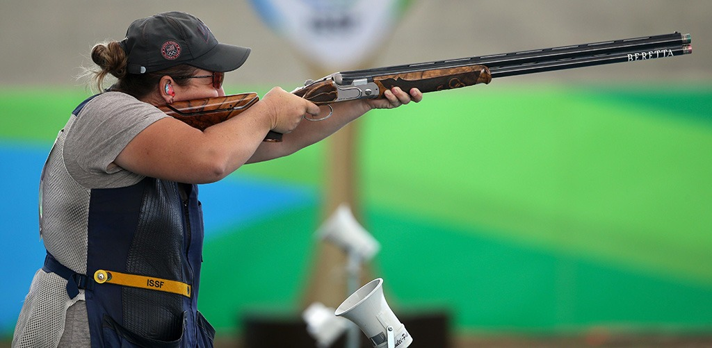 Kim Rhode has her gun steady as she pulls the trigger