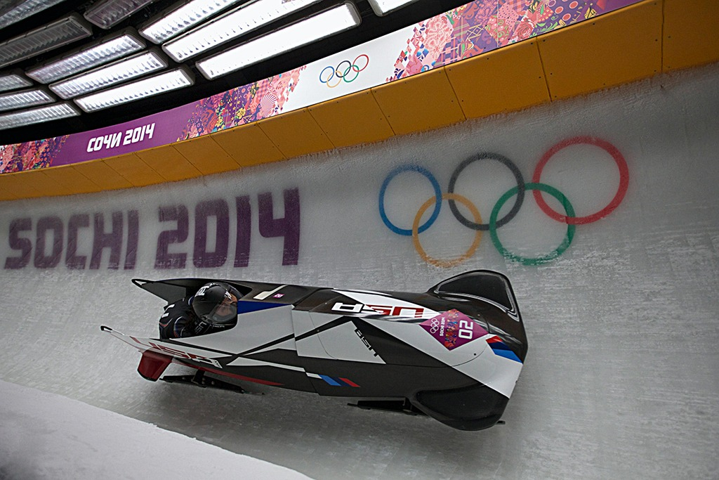 USA-1 bobsled speeds through the course