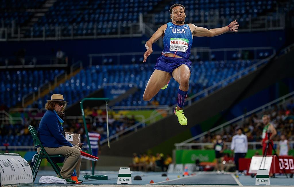 Roderick Townsend soars through the air.