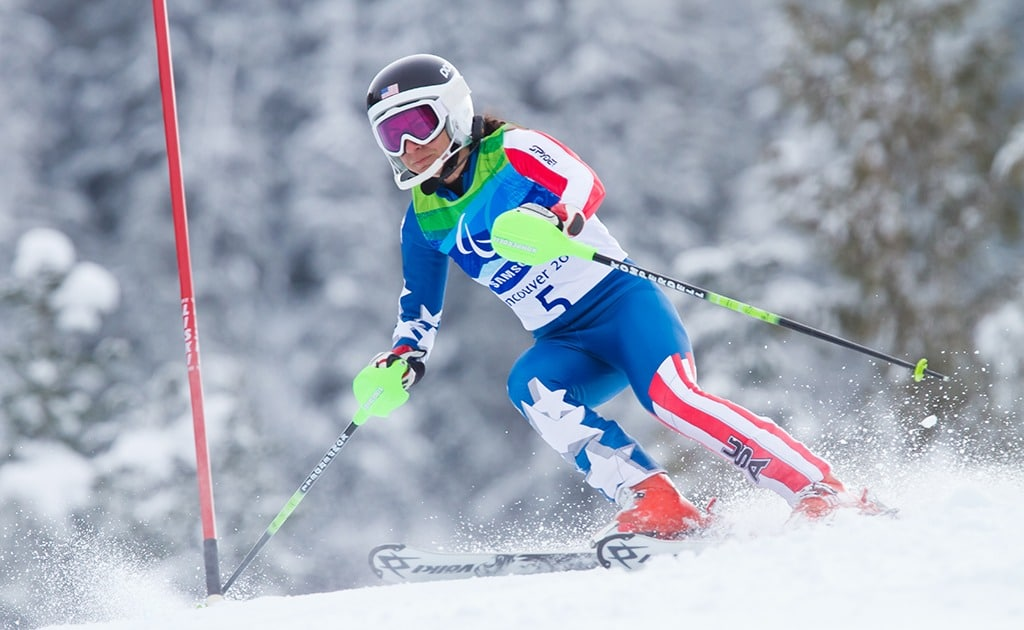 Danielle Umstead turns to her right as she speeds down the slopes