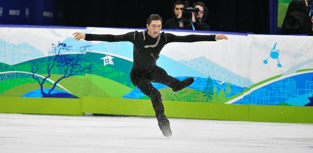 Figure skater Evan Lysacek lands a jump