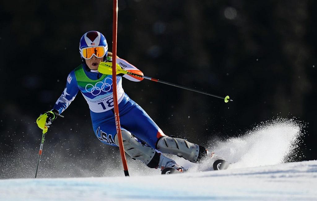 Skier Lindsay Vonn turns around a gate