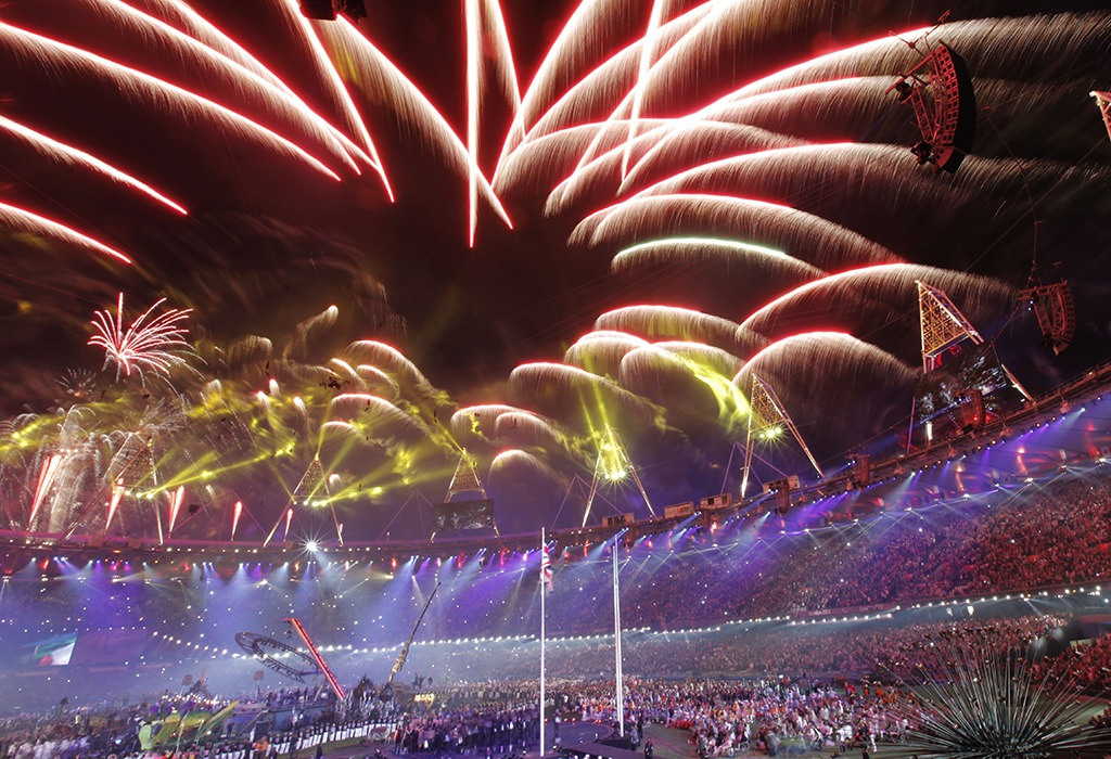 Fireworks explode atop the stadium