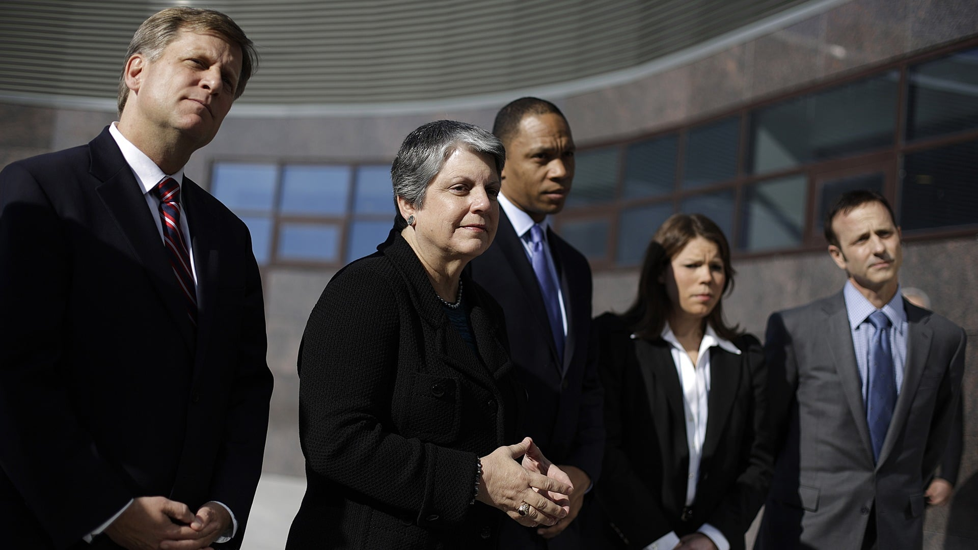 From left, U.S. Ambassador to Russia Michael McFaul, former Homeland Security Secretary Janet Napolitano, Assistant to the President and Deputy Chief of Staff Robert Nabors, hockey player Caitlin Cahow and figure skater Brian Boitano attend a news conference.