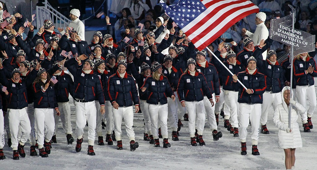 Team USA athletes enter the Parade of Nations