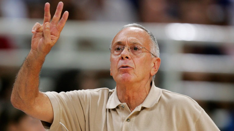 Larry Brown signals in a play during the Athens 2004 Olympic Games