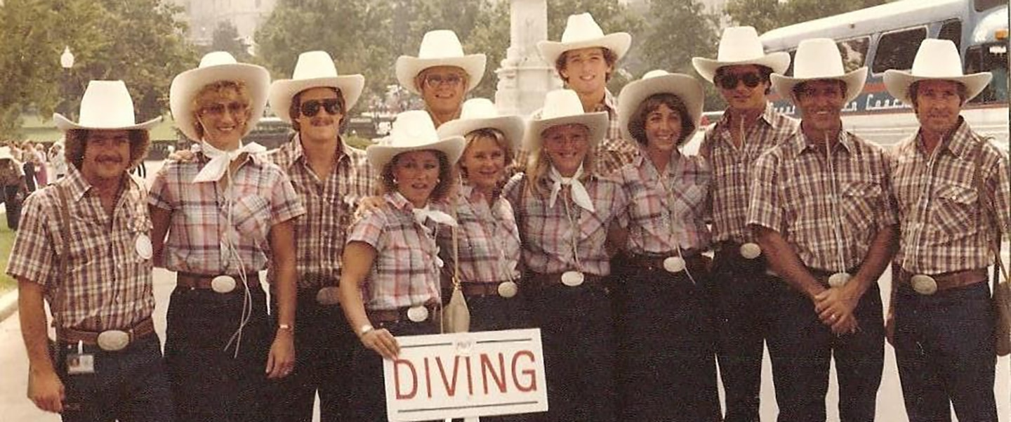 The 1980 U.S. Olympic Diving Team poses in plaid shirts and cowboy hats.