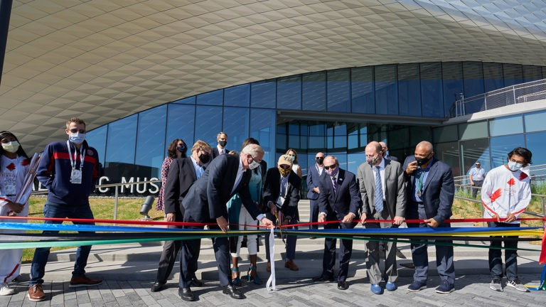 The ribbon is cut to open the U.S. Olympic & Paralympic Museum