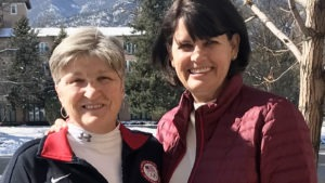 Carol Lindsey and Kim Clarke pose for a photo at the Broadmoor