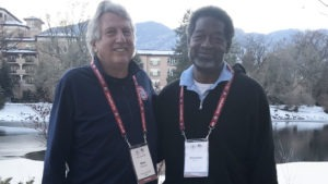 Dick Fosbury and Reynaldo Brown share a smile as they pose for a photo at the Broadmoor