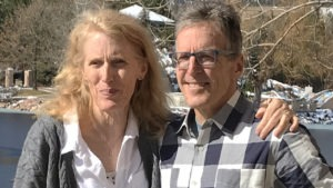 Connie Carpenter-Phinney and Davis Phinney pose for a photo outside the Broadmoor
