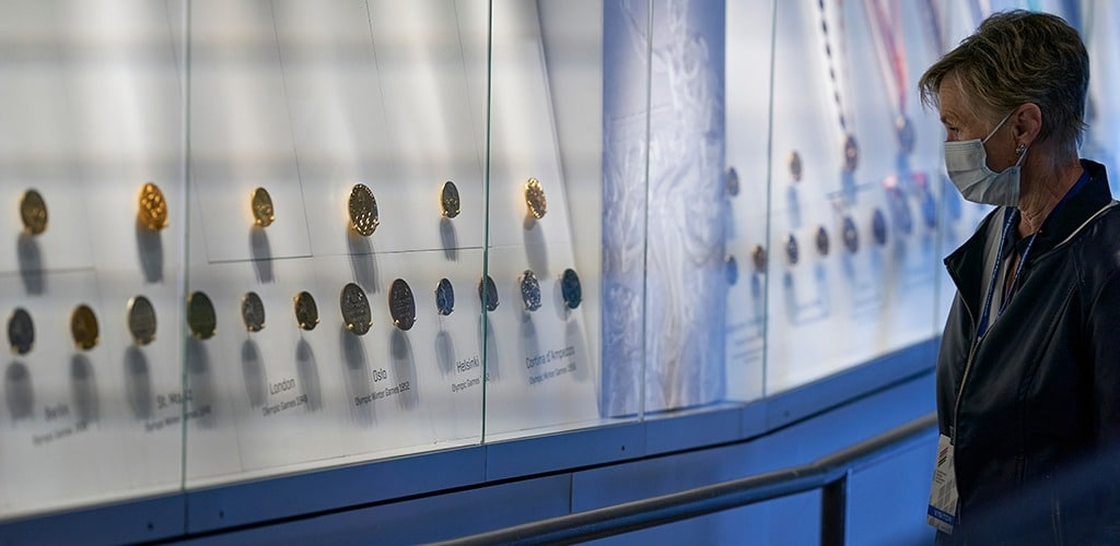 A guest views medals on display