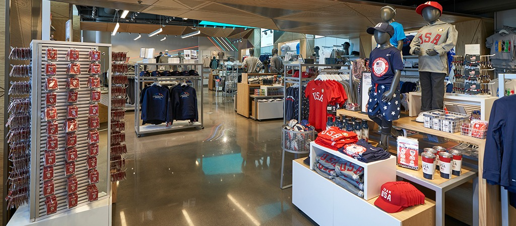 In the Museum Shop, at left, are U.S. Olympic & Paralympic Museum pins