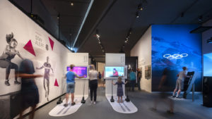 Guests participate in the Winter Games interactive exhibits.