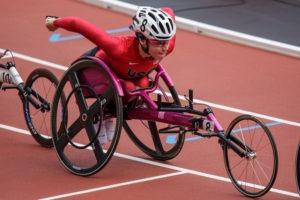 Amanda McGrory nears the finish line in her racing wheelchair