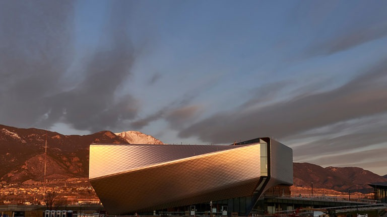 Clouds float in the sky above the U.S. Olympic & Paralympic Museum