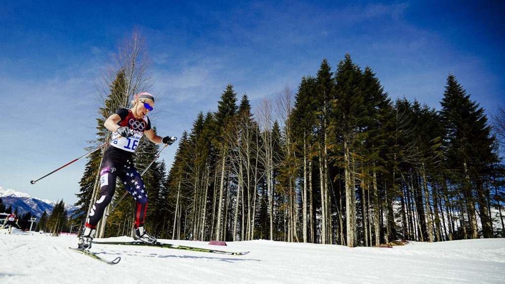 Kikkan Randall pushes hard as she skis the course