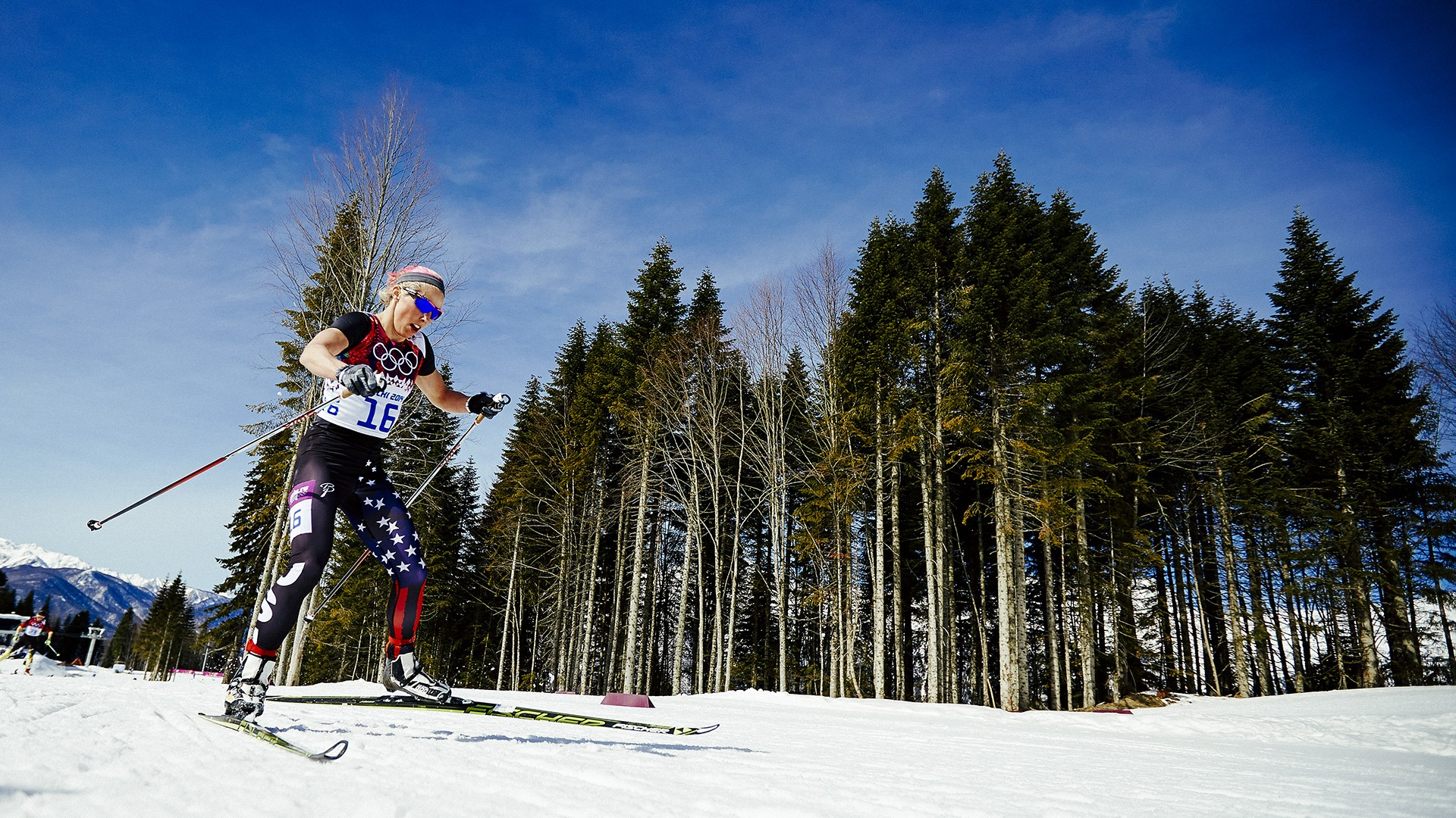 Kikkan Randall pushes hard as she skis the course