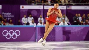 Mirai Nagasu lands a jump during Olympic competition