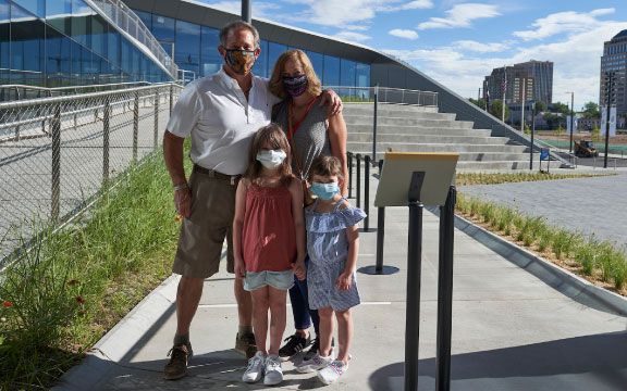 A family enjoys Mothers Day at the United States Olympic and Paralympic Museum.