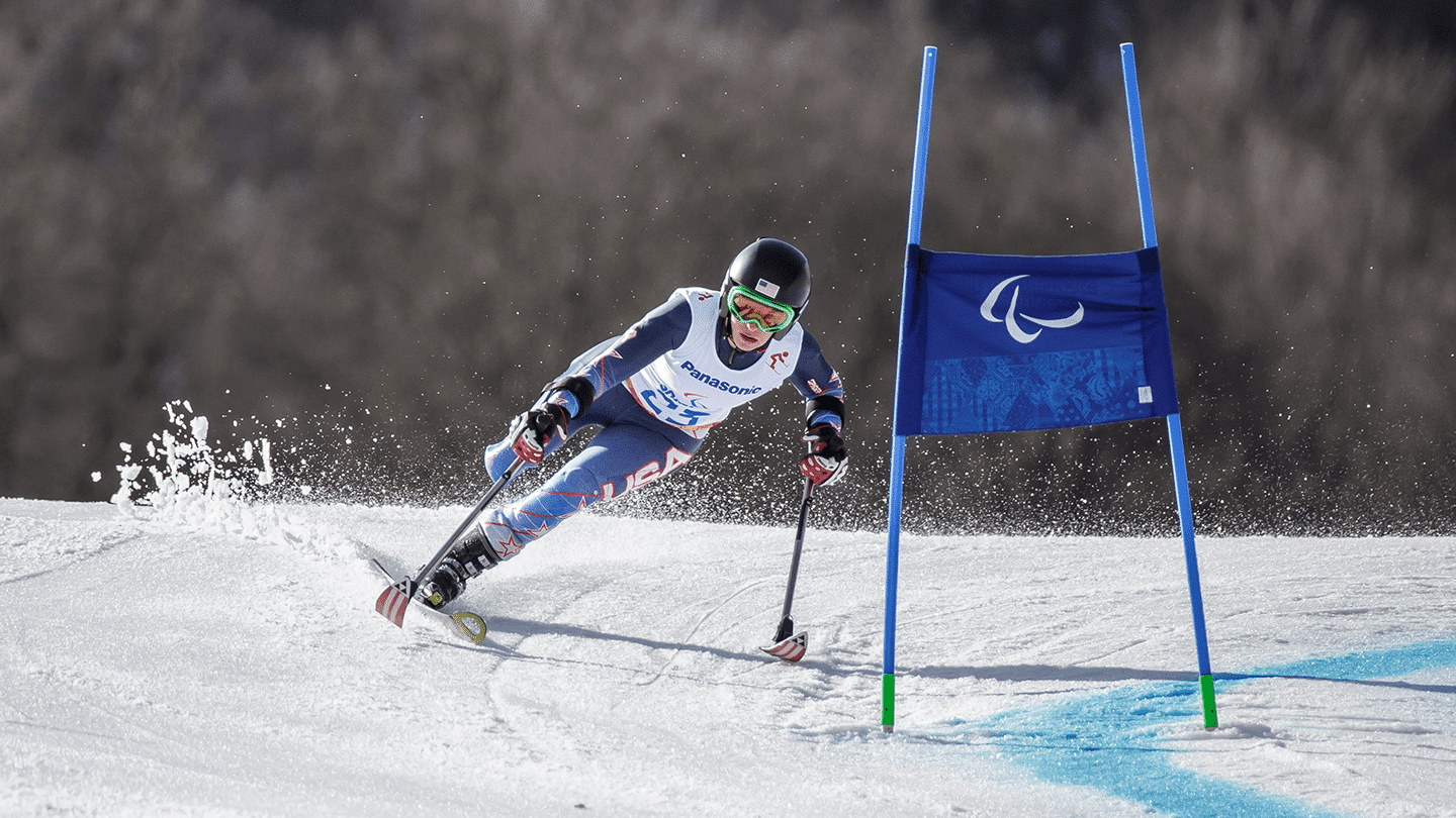 Allison Jones competes in a skiing event