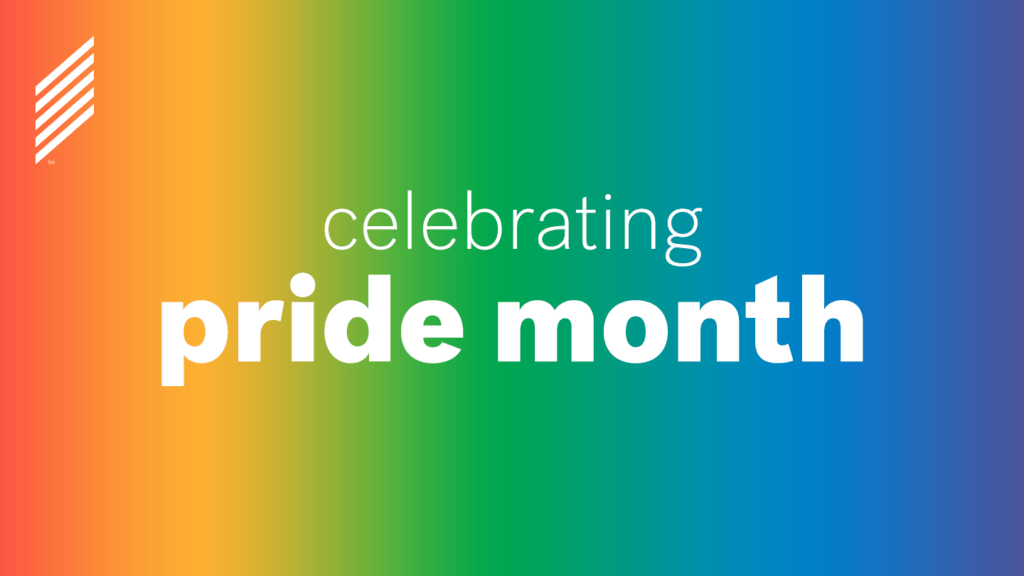 """Graphic featuring a pride rainbow background and text """"Celebrating Pride"""""""