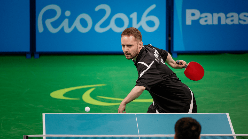 Tahl Leibovitz competing in Paralympic table tennis
