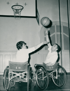 Saul and Christa Welger play each other in wheelchair basketball